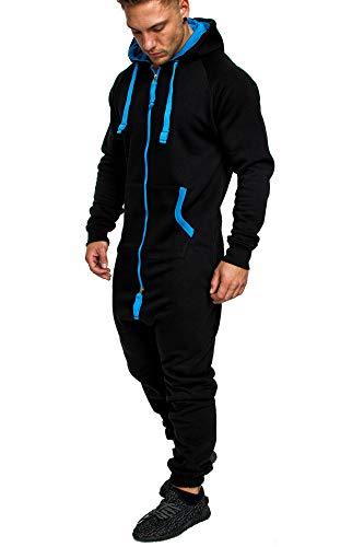Amaci&Sons Herren Overall Jumpsuit Jogging Onesie Trainingsanzug Camouflage 3004 Schwarz/Türkis XL