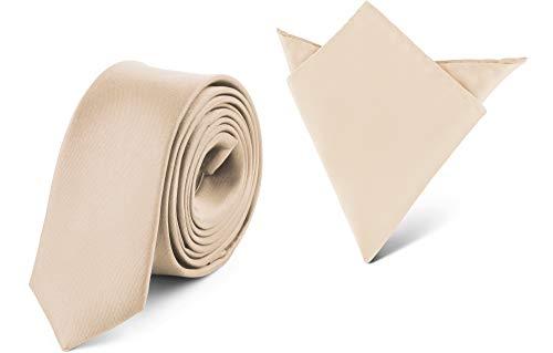 Ladeheid Herren Schmale Krawatte & Einstecktuch Set SP/P (150cm x 5cm, 22cm x 22cm, Ecru)