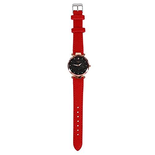 KDMB Reloj de Moda Reloj de Pulsera para Mujer Shining Starry Sky Dial Correa de Cuero Hebilla Reloj de Cuarzo Retro Reloj Luminoso Diamante simulado Relojes para Mujer Rojo