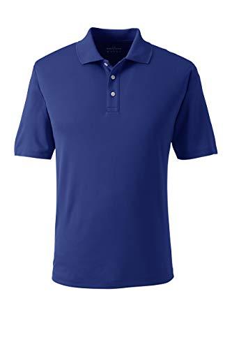 Lands' End Mens Short Sleeve Solid Active Polo Shirt Dark Cobalt Blue Regular Large
