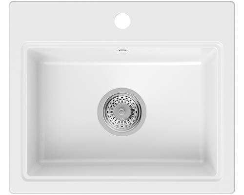 PRIMAGRAN Fregadero de Granito 51 x 43,5 cm, Lavabo Cocina Un Seno + Sifón Clásico, Fregadero Empotrado Oslo, Blanco