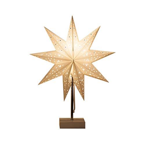 Lámpara de Mesa, Lámpara Mesita de Noche,Diseño de Estrella,ideal para Dormitorio, Salón, Mesa, Oficina (Metal y Papel y Madera) Zhhlaixing