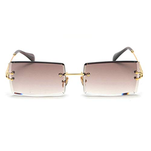 mincl/Fashion Small Rectangle Sunglasses Women Ultralight Candy Color Rimless Ocean Sun Glasses (gold&brown)