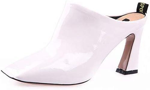 HOESCZS Chaussures à tête carrée rétro en Cuir Verni Chaussures à Talons Hauts Talons épais avec Demi-Pantoufles Pantoufles Baotou Pantoufles marée