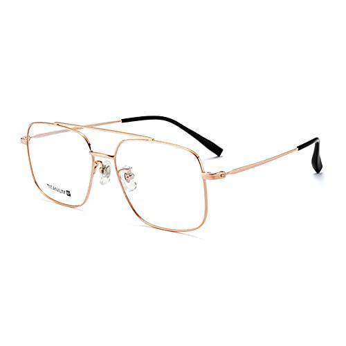HQMGLASSES Gafas de Lectura multifocales progresivas con Montura de Titanio Puro para Mujer, Lector de computadora con Lente HD Anti-luz Azul dioptrías +1.0 a +3.0,Oro,+3.0
