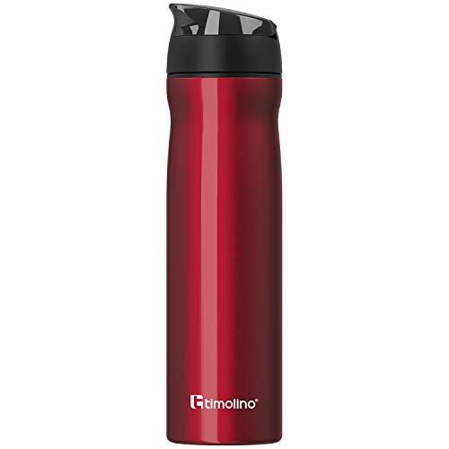 Timolino Botella de agua de acero inoxidable prémium, botella de agua para deportes, ocio, camping, 700 ml, a prueba de fugas, resistente a los arañazos, color rojo
