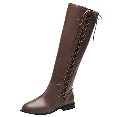 Xuthuly Damenmode Vintage Reine Farbe Quadrat Ferse Kniehohe Stiefel Damen Klassisch Lässig Kreuz Spitze Bowknot Reißverschluss Hohe Stiefel Einzelne Schuhe