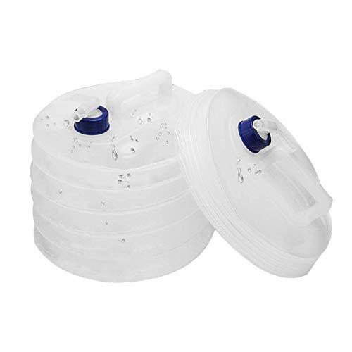 2 Piezas Bidon de Agua con Grifo Cubo de Agua Portátil Garrafa Plegable Bidon de Agua PortáTil Y Plegable Contenedor de Agua de PláStico Tanques de Agua con Grifo para Camping Acampada 5L+10L