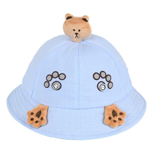 Gorra para bebés de 6-36 Meses, Sombrero de Pescador de cúpula con Etiqueta de Cuero de Oso de Dibujos Animados de Primavera y otoño para niños y niñas (Blue,48cm)