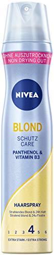 NIVEA Blond Schutz Haarspray Extra Stark (250 ml), pflegendes Styling Spray mit Panthenol & Vitamin B3, Haarspray für blonde Strahlkraft & 24h Halt