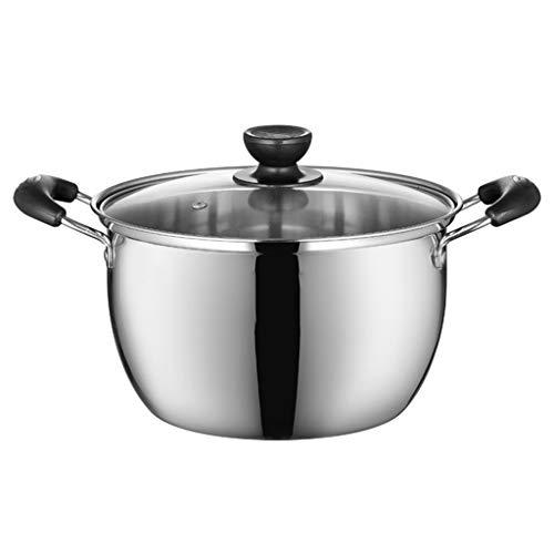 LJHSSB soeppan, roestvrij staal met glazen glazen glazen huishouden, eenpot, rijst, koken, pan, inductiefornuis A22cm