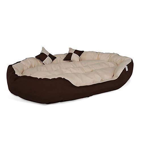 dibea Letto per cani cuscino per cani tessuto Oxford 4-in-1 design (M) 85x70 cm marrone/beige