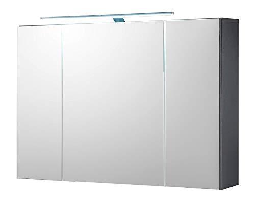 Badezimmerschrank Spiegelschrank | Grau | Türen | LED-Beleuchtung | Steckdose | Lichtschalter