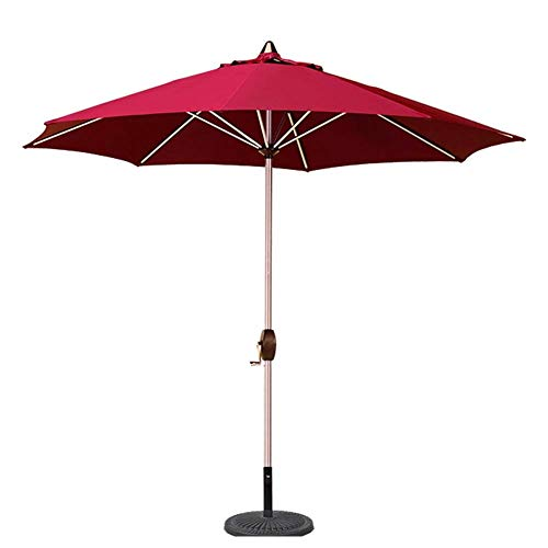 NMDD Parasols 9' Portable Patio Garden Table Umbrella With 8 Sturdy Ribs, Perfect For Outdoor Beach, Commercial Event Market, Camping, Pool Side (Color : Red, Size : 9 Ft/270cm)