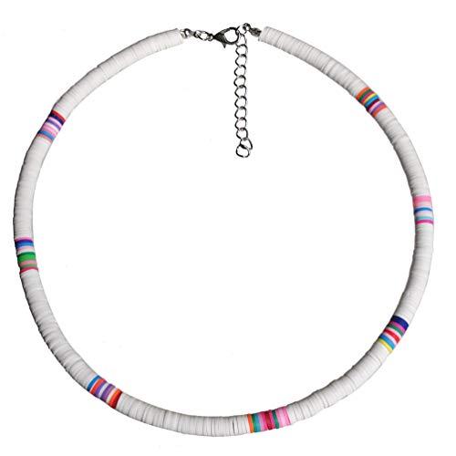 Holibanna Collar de Gargantilla Boho Gargantilla de Arcilla Polimérica Collar de Fiesta en La Playa para Mujer Regalo de Joyería (Blanco 6 Mm)