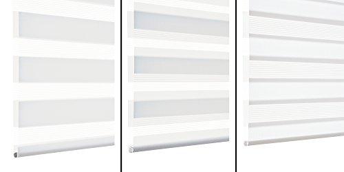 GARDINIA Doppelrollo zum Klemmen oder Kleben, Duo-Rollo/ Seitenzugrollo, Transparente und blickdichte Streifen, Alle Montage-Teile inklusive, Weiß, 120 x 150 cm (BxH) - 3
