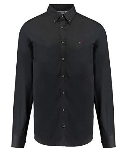 Tommy Hilfiger Core Stretch Slim Poplin Shirt Camisa, Negro (Flag Black 083), X-Large para Hombre