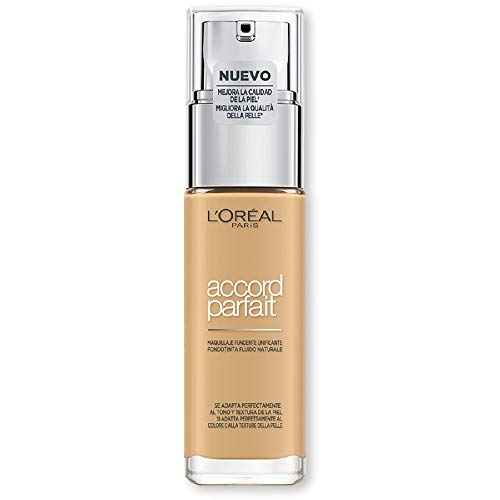 L'Oréal Paris MakeUp Fondotinta Accord Parfait, Effetto Naturale, Arricchito con Acido Ialuronico, 4.D/4.W Naturel Doré/Golden Natural, 30 ml, Confezione da 1