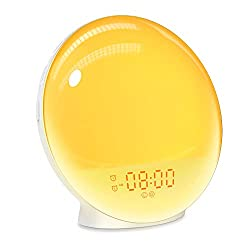 Wake Up Light Sunrise Alarm Clock, Dekala Wake-Up Light Smart Digital Alarm Clock Radio with Sunset Simulation Sleep Aid, Snooze 2 Alarms /7 Sounds /20 Brightness, Ideal Gift for Adults, Kids