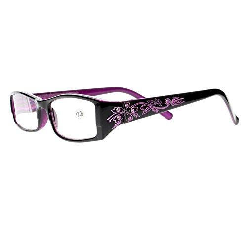 Lunettes de lecture de luxe pour femme avec verres transparents + 1,0 ~ + 4,0 (violet, +2,0)