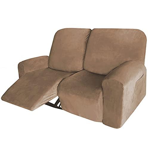 LUOQI Funda reclinable para 2 plazas, 6 Piezas de Microfibra elástica para sofá reclinable seccional, Terciopelo Fundas de Brazos Funda de Sillón Relax Protector de Muebles Cubre