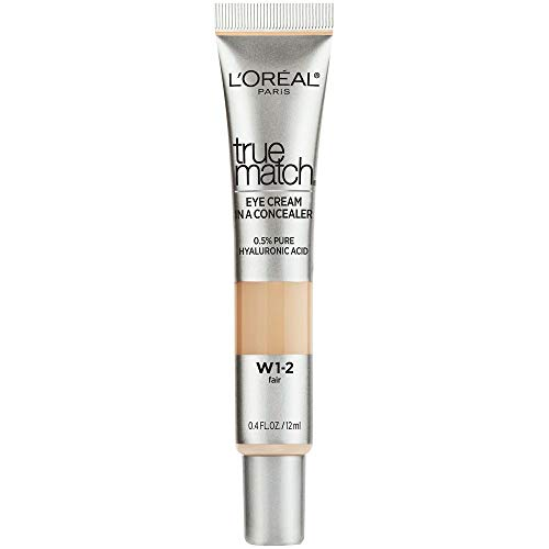 L'Oreal Paris True Match Eye Cream in a Concealer, 0.5% Hyaluronic Acid, Fair w1-2, 0.4 fl. Oz