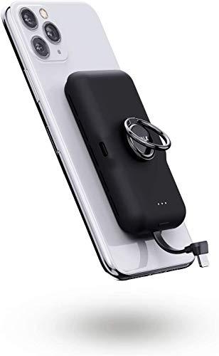 iWALK Banco de energía portátil de 5000 mAh, cargador portátil ultracompacto con cable integrado y anillo de dedo del teléfono, se adhiere al teléfono, compatible con iPhone 12 Mini/12 Pro/X y más