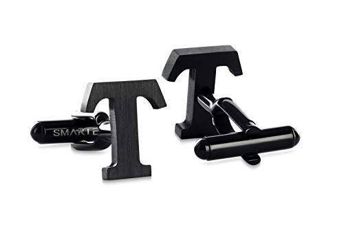 SMARTEON® Manschettenknöpfe für Herren | Premium Buchstaben A-Z | Silber & Schwarz aus hochwertigem Edelstahl in mattem Design | Elegante Cufflinks in einem edlen Geschenk-Set (T - schwarz)
