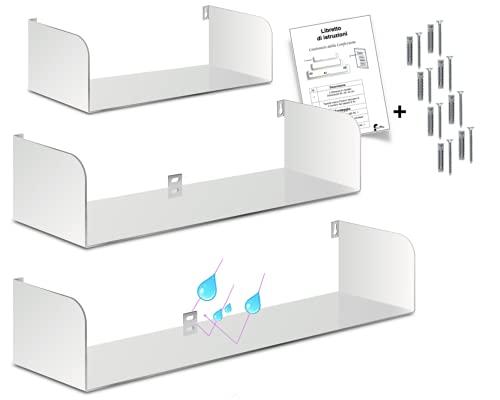 Mensole sospese da muro set di 3 mensole da parete moderne a scomparsa in ferro dimensioni 60, 50, 40 cm verniciata a fuoco bianco opaco Mx carico 20 kg per mensola