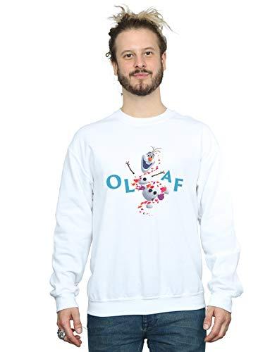 Disney Herren Frozen 2 Olaf Leaf Jump Sweatshirt Weiß XXX-Large