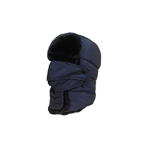 Gorras De Pasamontañas Impermeable Con Borregos Grueso Y Mascara Facial De Automatico Antiviento Cuello Abrocha Con Velcro Para Esquiar Ciclista Motorista De Invierno Unisex Mujer Y Hombre (Azulón)