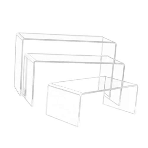 Garneck 3 Stücke Klar Acryl Display Riser Platz Riser Stand Regal Display Rack Schmuck Display Riser Regal Schaufenster für Amiibo Funko Pop Figur Display