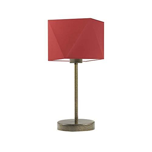 WUHU - Lámpara de mesita de noche, color rojo y dorado envejecido