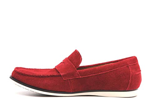Alfani Mens Sawyer Leather Closed Toe Penny Loafer, Red, Size 10.0