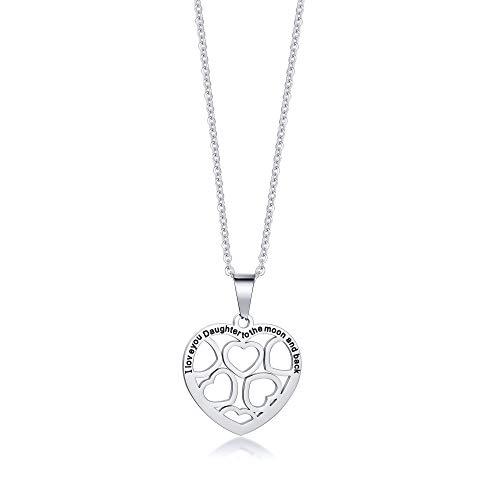 VNOX Collar para Hija Te Amo Hija a la Luna y Collar de Corazón en la Espalda de Mamá Papá, Regalo de Cumpleaños para Hija, Cadena Gratis 50cm