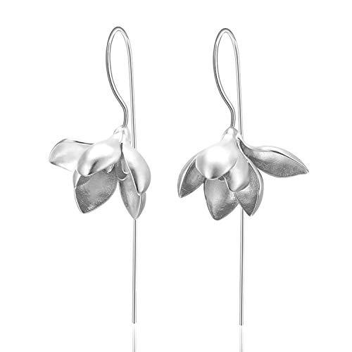 Lotus Fun S925 Sterling Silber Ohrringe Elegant Magnolie Blume Tropfen Ohrringe Kreativ Natürlicher Handgemachter Einzigartiger Schmuck für Frauen und Mädchen (Silber)