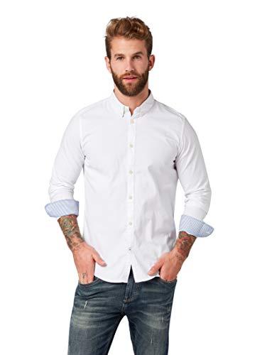TOM TAILOR Herren Blusen, Shirts & Hemden Gemustertes Hemd White,M