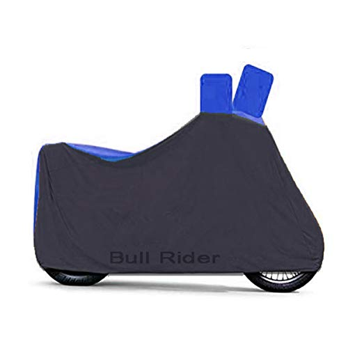Bull Rider Nylon Waterproof Bike Body Cover for All 2 Wheelers with Mirror Pockets (Blue and Black)