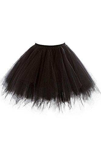 MisShow Damen Festlich Tüllrock Unterrock für Petticoat Kleid Schwarz XL