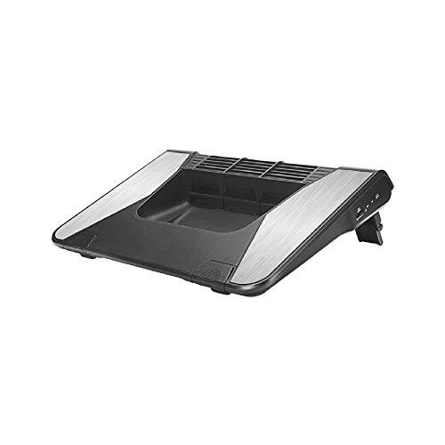 XUERUIGANG Pista de enfriamiento portátil de Doble soplador para una computadora portátil de 14 a 17 Pulgadas, Almohadilla de Enfriador, Anillo de Goma Flexible, Soporte de Montaje Ajustable, Negro
