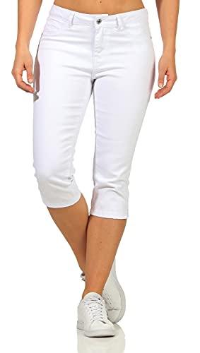 VERO MODA Damen Capri Jeans Shorts Hot Seven 10193077 Bright White XS