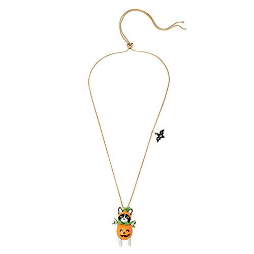 Betsey Johnson Jack-o-Lantern Dog Pendant Slider Necklace