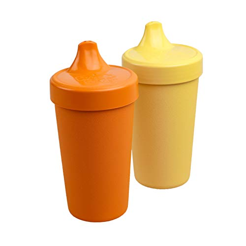 Re-Play 2pk - 10 oz. No Spill Sippy Cups with1 Piece Silicone Easy Clean Valve, BPA Free Eco Friendly Heavyweight Recycled Milk Jugs are Virtually Indestructible (Orange, Yellow)