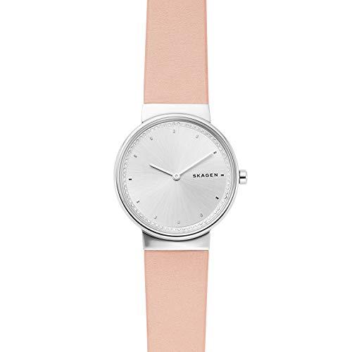 Skagen Damen Analog Quarz Uhr mit Leder Armband SKW2753