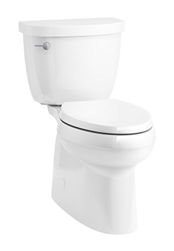 KOHLER 5310-0 Cimarron Skirted trapway Comfort Height Two-Piece Elongated Toilet, Left-Hand Trip Lever, 29 x 17.6 x 30.5, White