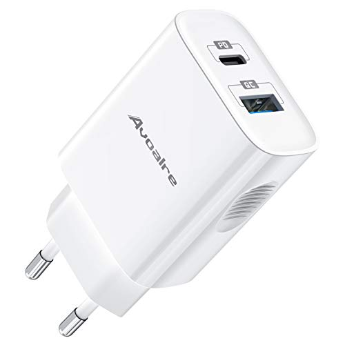 Avoalre 20W Cargador con 2 Puertos USB +Tipo C, Cargador USB C Carga Rápida 3A Cargador de Pared Compatible para iPhone iPad MacBook Air 13, Xiaomi Redmi Note 8 9 Android y iOS, Blanco