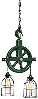 West Ninth Vintage Iron Barn Pulley Light (Green)