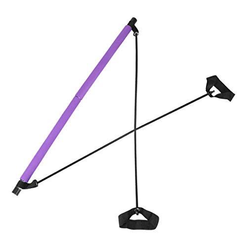 Gfbyq Kit de barra de yoga y pilates, portátil, banda de resistencia para ejercicio, barra de tonificación muscular, barra de tonificación muscular, gimnasio, estiramiento con bucle para el pie para entrenamiento corporal total