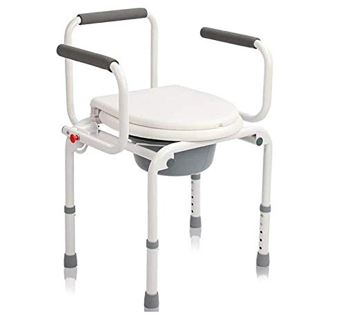 RRH-Bathroom Wheelchairs Bedside Commodes Adjustable commode chair, bathroom toilet safety rack, lightweight free standing armrest for adults, disabled and disabled assistance, white Bathroom Wheelcha