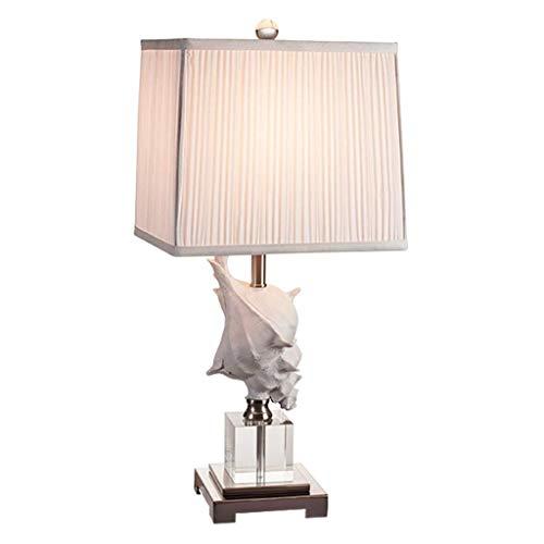 Lámparas de mesa Lámpara de mesa de cristal de concha de estilo mediterráneo Lámpara de noche para dormitorio Lámpara de mesa de hotel para sala de estar de moda Lámpara de escritorio (Color: Blanco)
